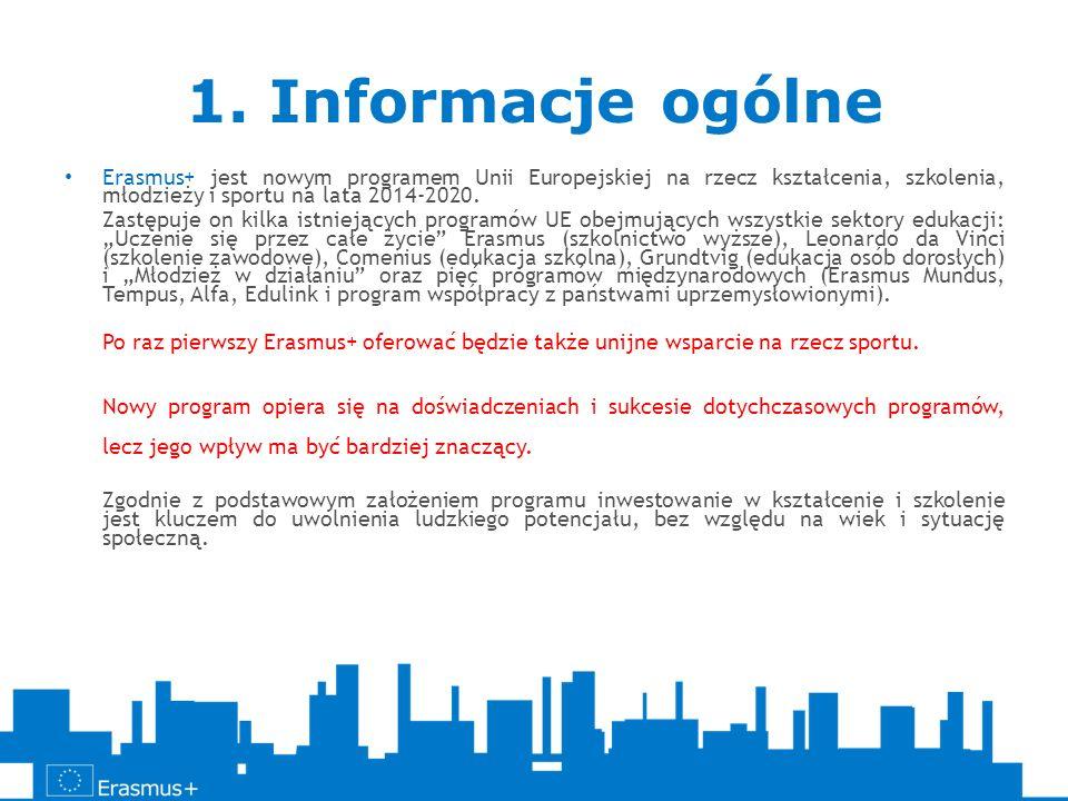 1. Informacje ogólne Erasmus+ jest nowym programem Unii Europejskiej na rzecz kształcenia, szkolenia, młodzieży i sportu na lata 2014-2020. Zastępuje