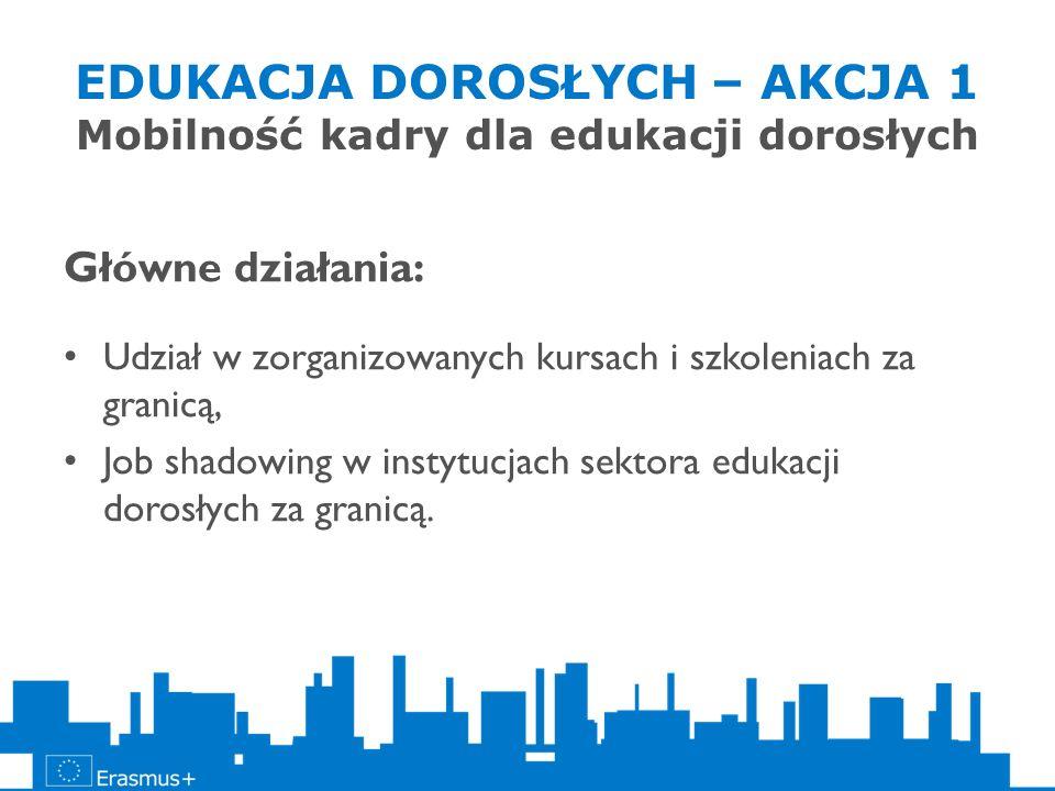 EDUKACJA DOROSŁYCH – AKCJA 1 Mobilność kadry dla edukacji dorosłych Główne działania: Udział w zorganizowanych kursach i szkoleniach za granicą, Job s