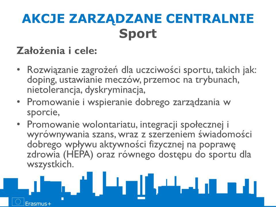 AKCJE ZARZĄDZANE CENTRALNIE Sport Założenia i cele: Rozwiązanie zagrożeń dla uczciwości sportu, takich jak: doping, ustawianie meczów, przemoc na tryb