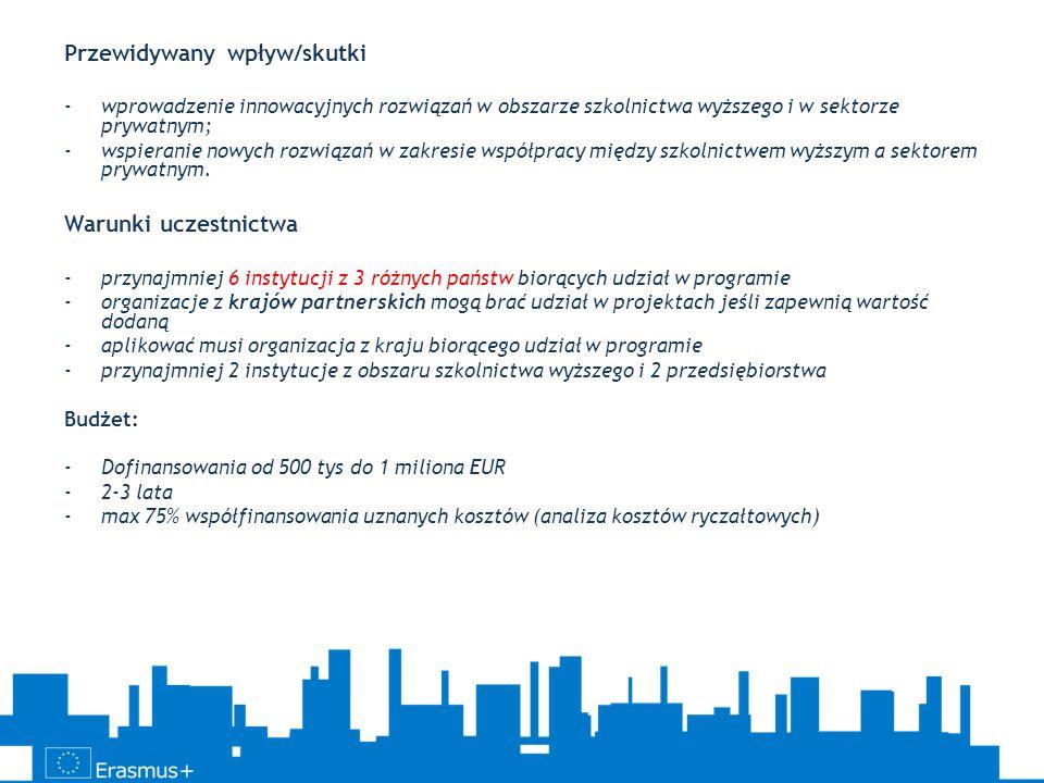 Przewidywany wpływ/skutki -wprowadzenie innowacyjnych rozwiązań w obszarze szkolnictwa wyższego i w sektorze prywatnym; -wspieranie nowych rozwiązań w