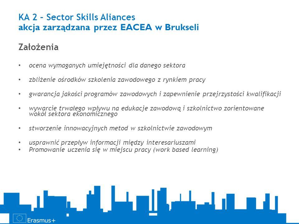 KA 2 – Sector Skills Aliances akcja zarządzana przez EACEA w Brukseli Założenia ocena wymaganych umiejętności dla danego sektora zbliżenie ośrodków sz
