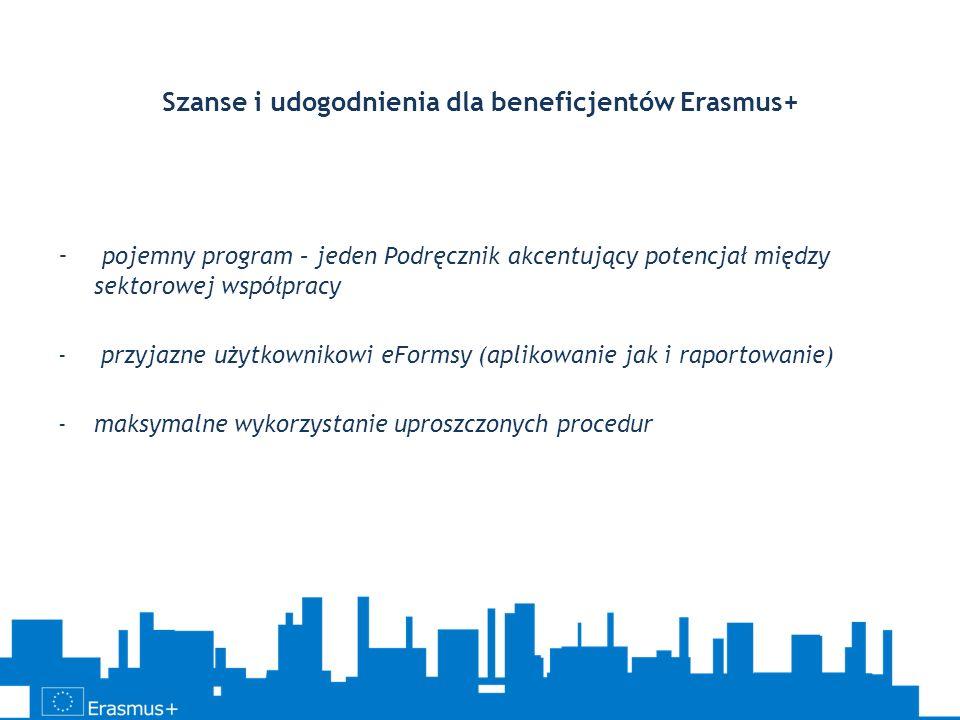 Szanse i udogodnienia dla beneficjentów Erasmus+ - pojemny program – jeden Podręcznik akcentujący potencjał między sektorowej współpracy - przyjazne u