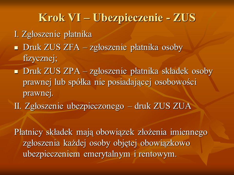 Krok VI – Ubezpieczenie - ZUS I.
