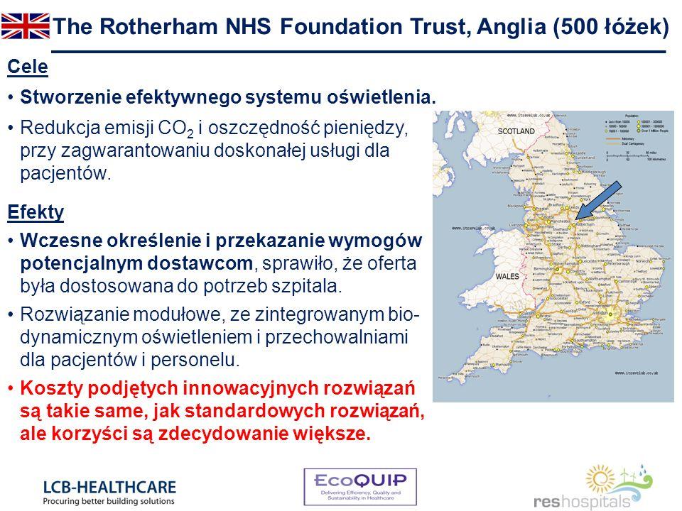 The Rotherham NHS Foundation Trust, Anglia (500 łóżek) Cele Stworzenie efektywnego systemu oświetlenia. Redukcja emisji CO 2 i oszczędność pieniędzy,