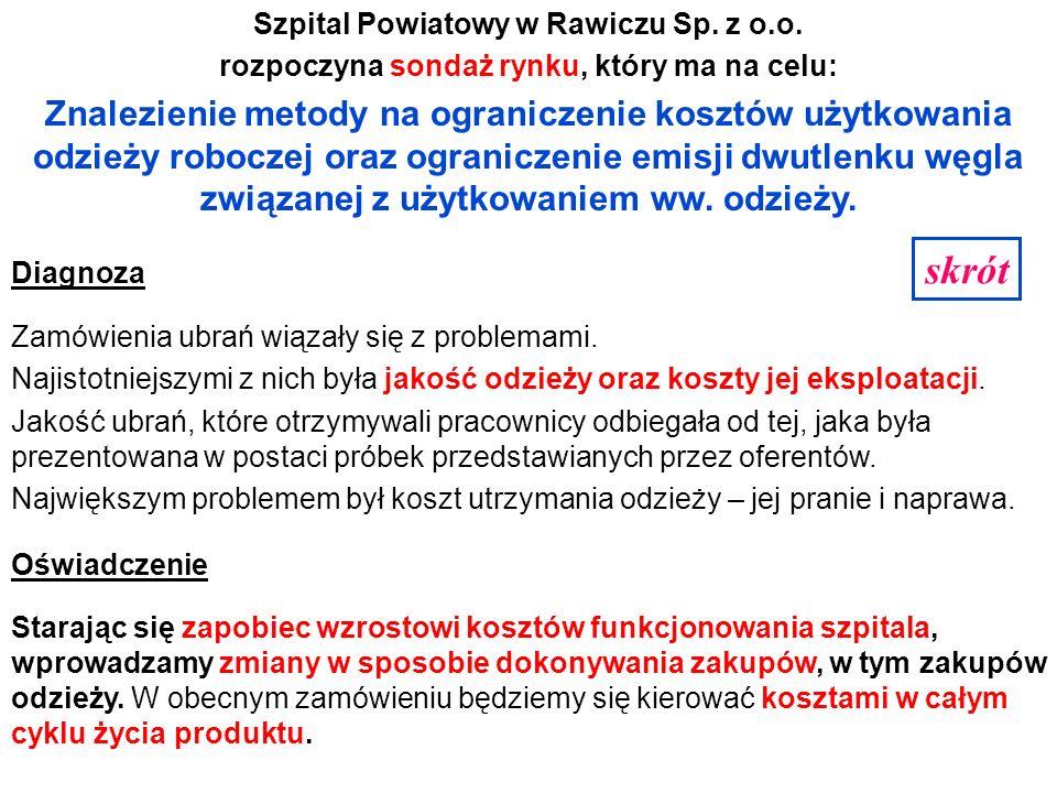 Szpital Powiatowy w Rawiczu Sp. z o.o. rozpoczyna sondaż rynku, który ma na celu: Znalezienie metody na ograniczenie kosztów użytkowania odzieży roboc