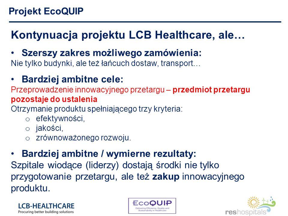 Kontynuacja projektu LCB Healthcare, ale… Szerszy zakres możliwego zamówienia: Nie tylko budynki, ale też łańcuch dostaw, transport… Bardziej ambitne