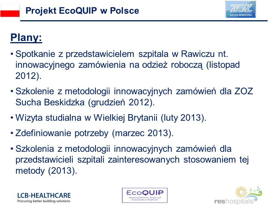 Plany: Spotkanie z przedstawicielem szpitala w Rawiczu nt. innowacyjnego zamówienia na odzież roboczą (listopad 2012). Szkolenie z metodologii innowac