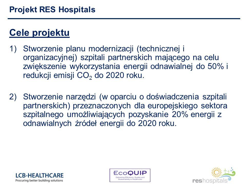 Cele projektu 1)Stworzenie planu modernizacji (technicznej i organizacyjnej) szpitali partnerskich mającego na celu zwiększenie wykorzystania energii