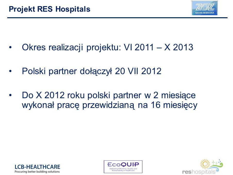 Okres realizacji projektu: VI 2011 – X 2013 Polski partner dołączył 20 VII 2012 Do X 2012 roku polski partner w 2 miesiące wykonał pracę przewidzianą