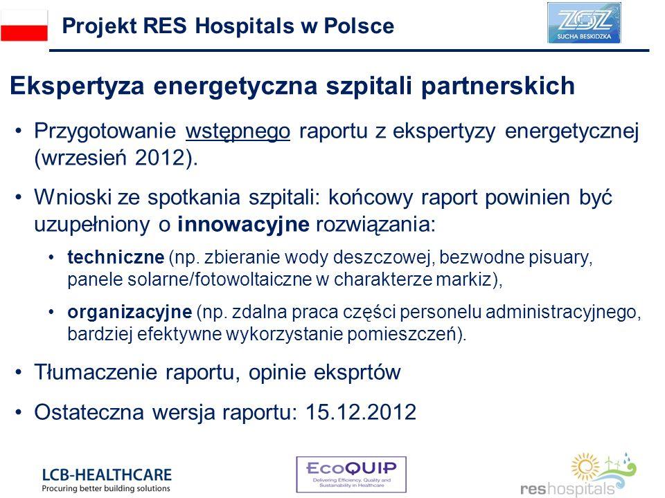 Ekspertyza energetyczna szpitali partnerskich Projekt RES Hospitals w Polsce Przygotowanie wstępnego raportu z ekspertyzy energetycznej (wrzesień 2012