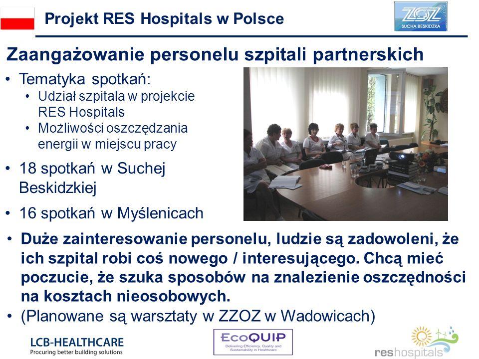 Zaangażowanie personelu szpitali partnerskich Projekt RES Hospitals w Polsce Duże zainteresowanie personelu, ludzie są zadowoleni, że ich szpital robi coś nowego / interesującego.