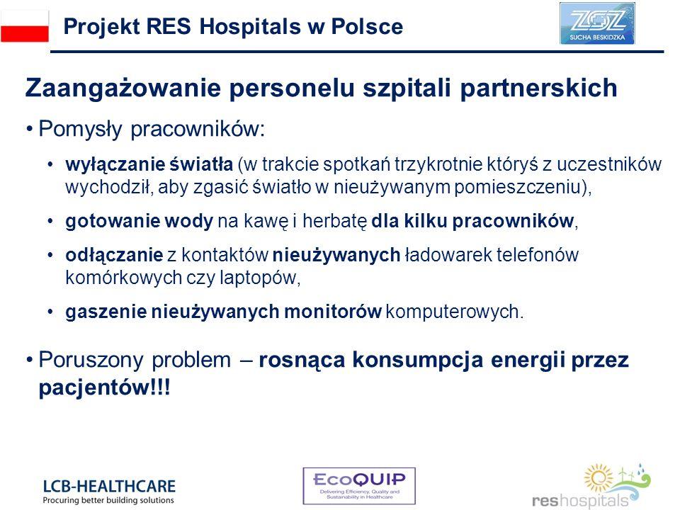 Zaangażowanie personelu szpitali partnerskich Pomysły pracowników: wyłączanie światła (w trakcie spotkań trzykrotnie któryś z uczestników wychodził, a