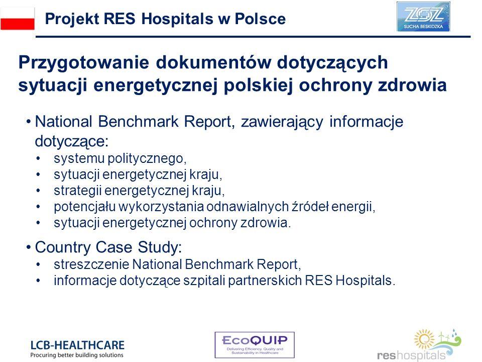 Przygotowanie dokumentów dotyczących sytuacji energetycznej polskiej ochrony zdrowia Projekt RES Hospitals w Polsce National Benchmark Report, zawierający informacje dotyczące: systemu politycznego, sytuacji energetycznej kraju, strategii energetycznej kraju, potencjału wykorzystania odnawialnych źródeł energii, sytuacji energetycznej ochrony zdrowia.