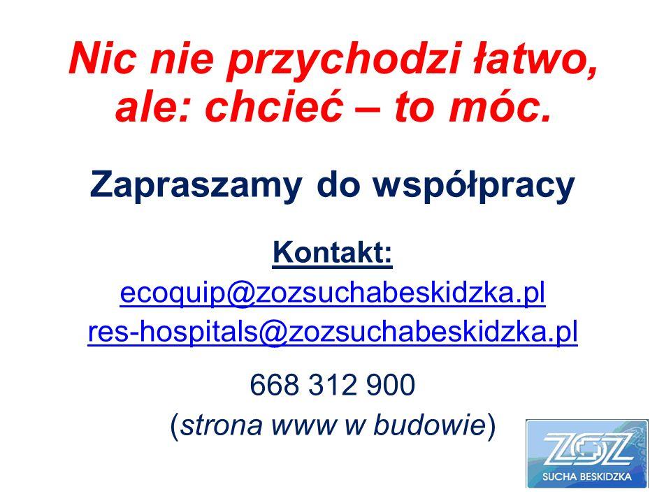 Zapraszamy do współpracy Kontakt: ecoquip@zozsuchabeskidzka.pl res-hospitals@zozsuchabeskidzka.pl 668 312 900 (strona www w budowie) Nic nie przychodz