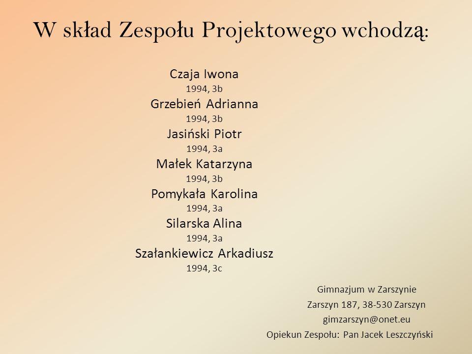 W sk ł ad Zespo ł u Projektowego wchodz ą : Gimnazjum w Zarszynie Zarszyn 187, 38-530 Zarszyn gimzarszyn@onet.eu Opiekun Zespołu: Pan Jacek Leszczyńsk