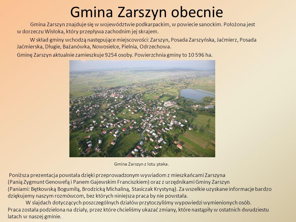Opinie mieszkańców o życiu współczesnym w gminie Zarszyn Przechodząc ulicami Zarszyna zadawaliśmy pytania : Czy łatwo uzyskać jest pomoc w urzędzie gminy dziś niż 20 lat temu.