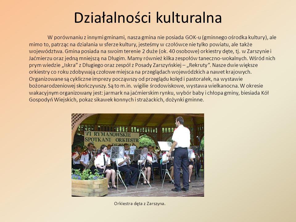 Działalności kulturalna W porównaniu z innymi gminami, nasza gmina nie posiada GOK-u (gminnego ośrodka kultury), ale mimo to, patrząc na działania w s