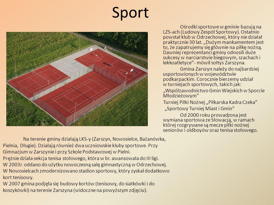 Sport Ośrodki sportowe w gminie bazują na LZS-ach (Ludowy Zespół Sportowy). Ostatnio powstał klub w Odrzechowej, który nie działał praktycznie 30 lat.