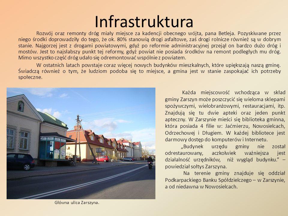 Infrastruktura Rozwój oraz remonty dróg miały miejsce za kadencji obecnego wójta, pana Betleja. Pozyskiwane przez niego środki doprowadziły do tego, ż
