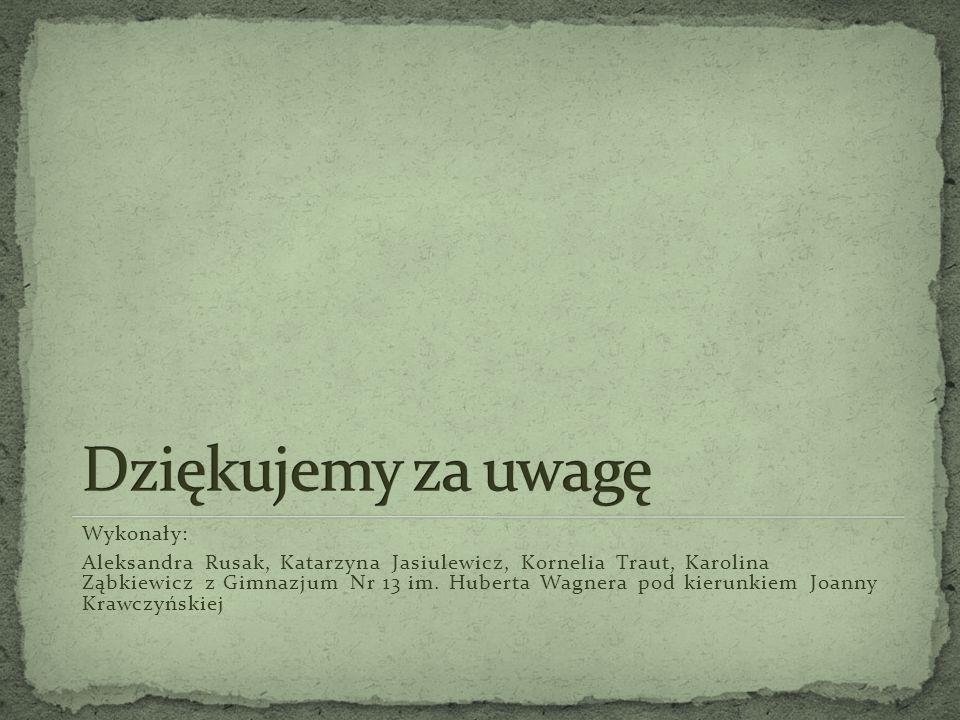 Wykonały: Aleksandra Rusak, Katarzyna Jasiulewicz, Kornelia Traut, Karolina Ząbkiewicz z Gimnazjum Nr 13 im. Huberta Wagnera pod kierunkiem Joanny Kra