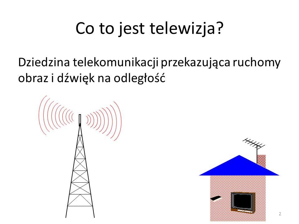 Co to jest telewizja? Dziedzina telekomunikacji przekazująca ruchomy obraz i dźwięk na odległość 2