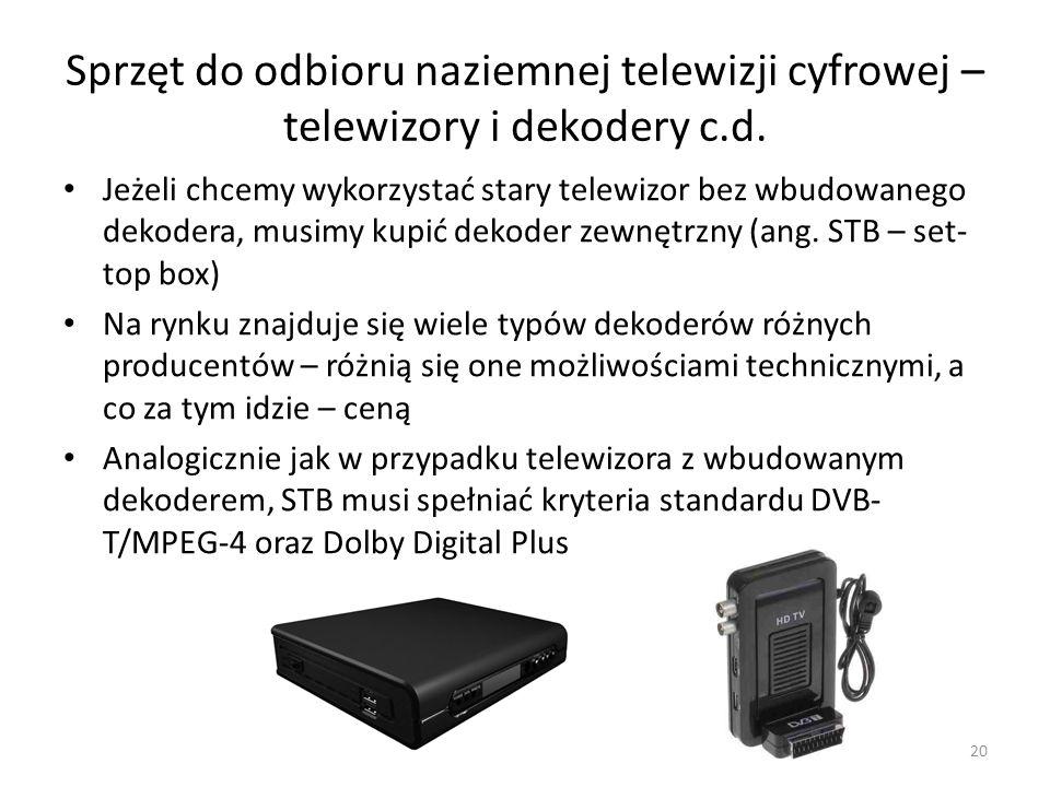 Sprzęt do odbioru naziemnej telewizji cyfrowej – telewizory i dekodery c.d.