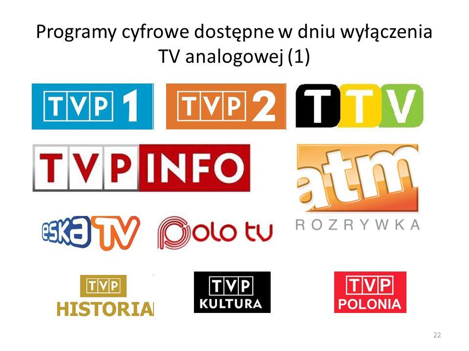 Programy cyfrowe dostępne w dniu wyłączenia TV analogowej (1) 22