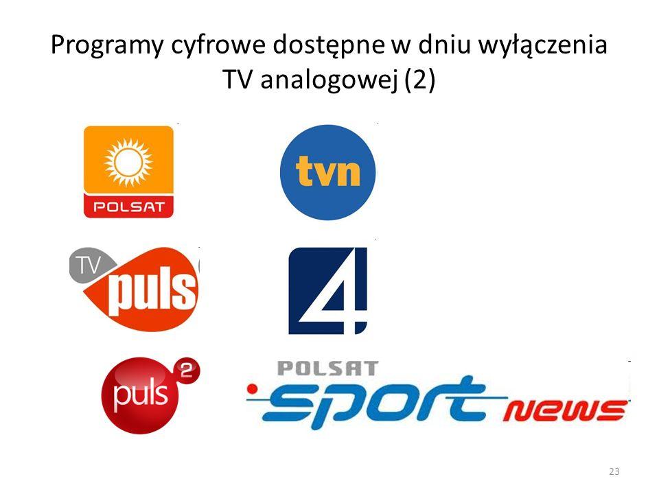 Programy cyfrowe dostępne w dniu wyłączenia TV analogowej (2) 23
