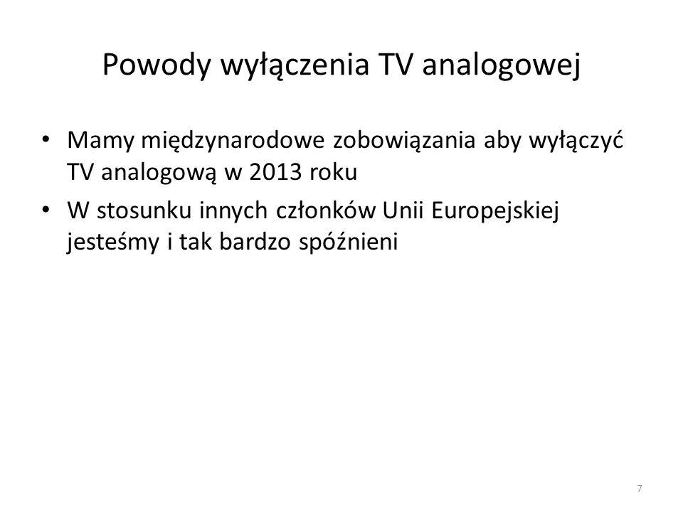 Powody wyłączenia TV analogowej Mamy międzynarodowe zobowiązania aby wyłączyć TV analogową w 2013 roku W stosunku innych członków Unii Europejskiej jesteśmy i tak bardzo spóźnieni 7