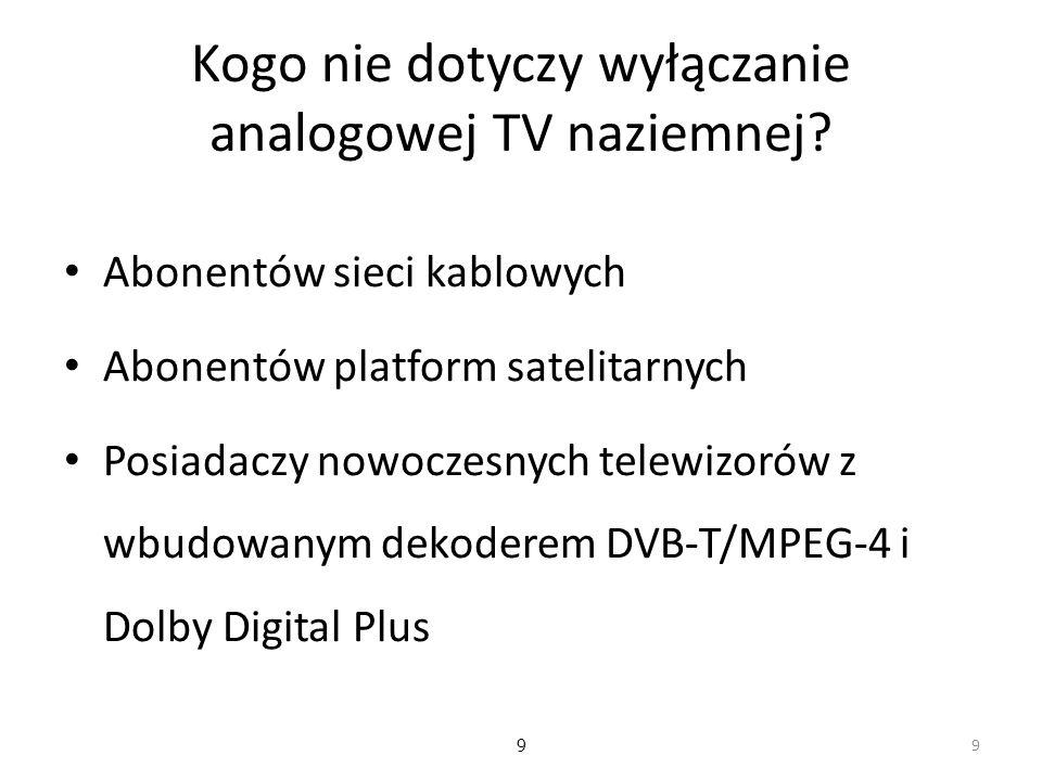 9 Kogo nie dotyczy wyłączanie analogowej TV naziemnej.