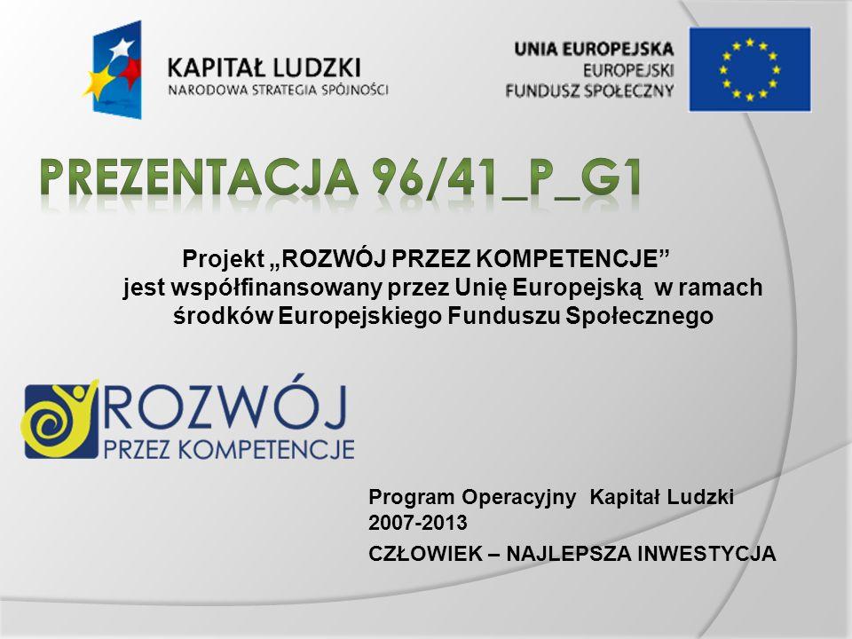 Projekt ROZWÓJ PRZEZ KOMPETENCJE jest współfinansowany przez Unię Europejską w ramach środków Europejskiego Funduszu Społecznego Program Operacyjny Kapitał Ludzki 2007-2013 CZŁOWIEK – NAJLEPSZA INWESTYCJA
