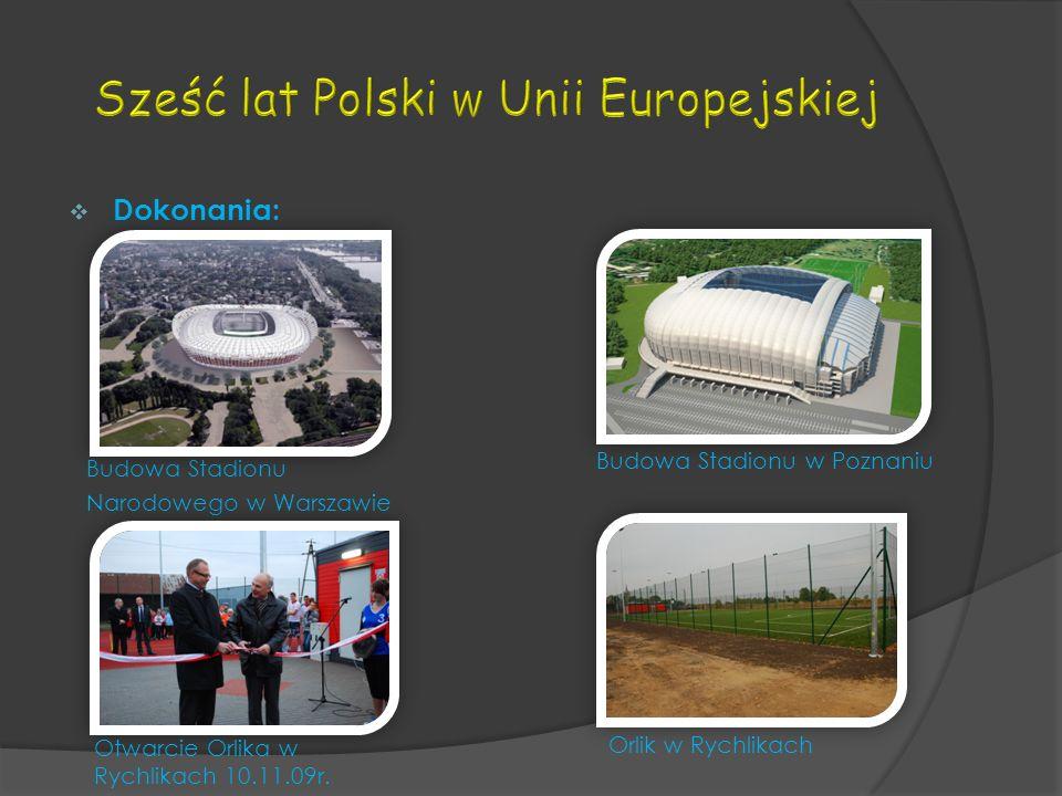 Dokonania: Budowa Stadionu Narodowego w Warszawie Budowa Stadionu w Poznaniu Orlik w Rychlikach Otwarcie Orlika w Rychlikach 10.11.09r.