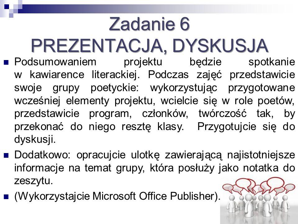 Zadanie 6 PREZENTACJA, DYSKUSJA Podsumowaniem projektu będzie spotkanie w kawiarence literackiej. Podczas zajęć przedstawicie swoje grupy poetyckie: w