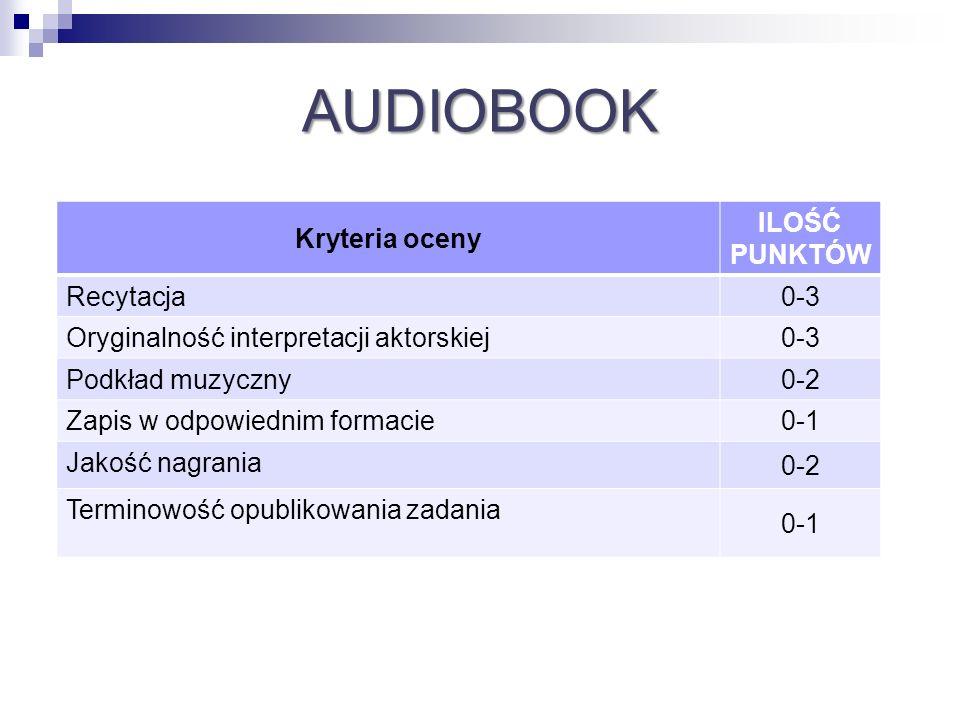 AUDIOBOOK Kryteria oceny ILOŚĆ PUNKTÓW Recytacja0-3 Oryginalność interpretacji aktorskiej0-3 Podkład muzyczny0-2 Zapis w odpowiednim formacie0-1 Jakoś