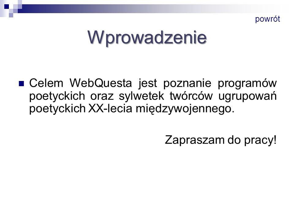 Wprowadzenie Celem WebQuesta jest poznanie programów poetyckich oraz sylwetek twórców ugrupowań poetyckich XX-lecia międzywojennego. Zapraszam do prac