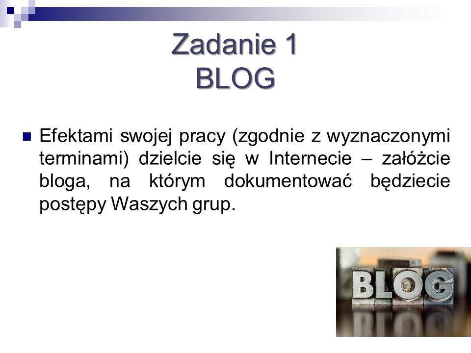 Zadanie 1 BLOG Efektami swojej pracy (zgodnie z wyznaczonymi terminami) dzielcie się w Internecie – załóżcie bloga, na którym dokumentować będziecie p