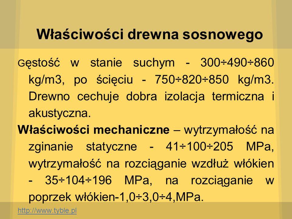 Właściwości drewna sosnowego G ęstość w stanie suchym - 300÷490÷860 kg/m3, po ścięciu - 750÷820÷850 kg/m3. Drewno cechuje dobra izolacja termiczna i a