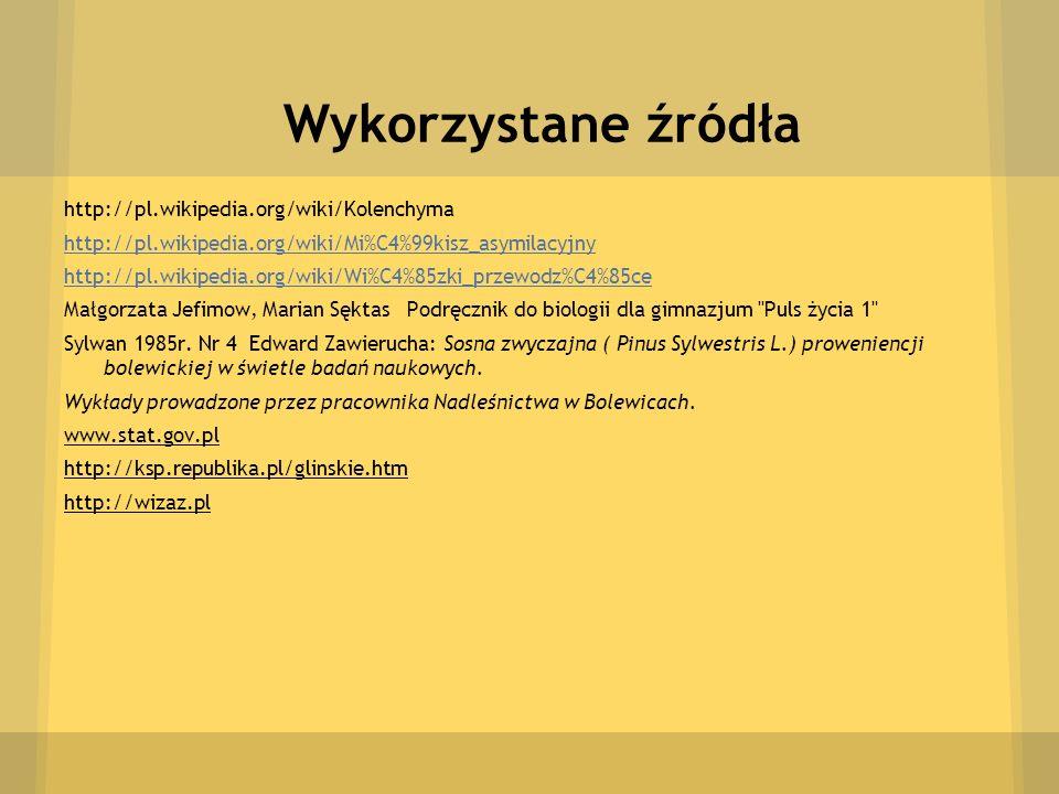 Wykorzystane źródła http://pl.wikipedia.org/wiki/Kolenchyma http://pl.wikipedia.org/wiki/Mi%C4%99kisz_asymilacyjny http://pl.wikipedia.org/wiki/Wi%C4%