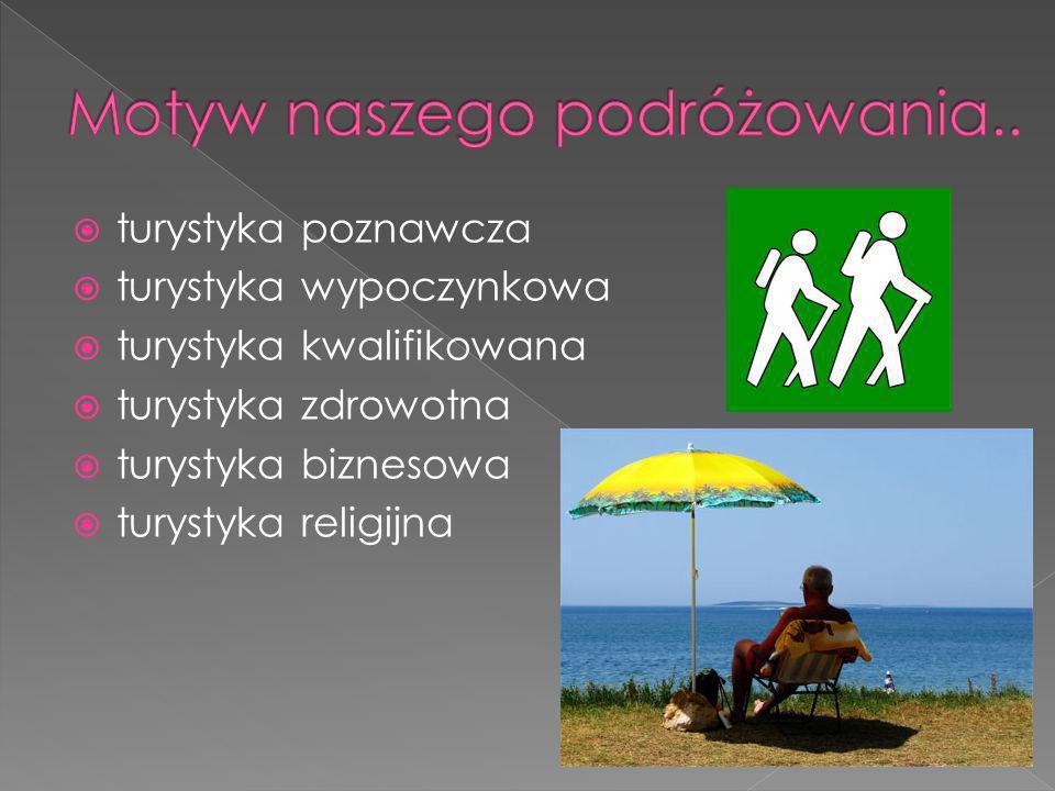 turystyka poznawcza turystyka wypoczynkowa turystyka kwalifikowana turystyka zdrowotna turystyka biznesowa turystyka religijna