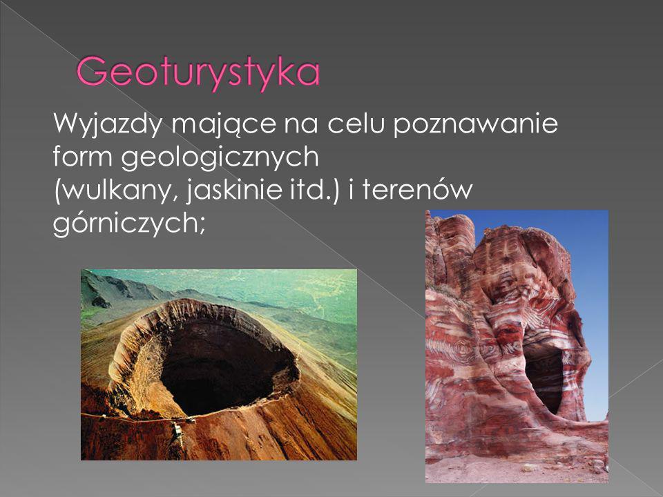 Wyjazdy mające na celu poznawanie form geologicznych (wulkany, jaskinie itd.) i terenów górniczych;