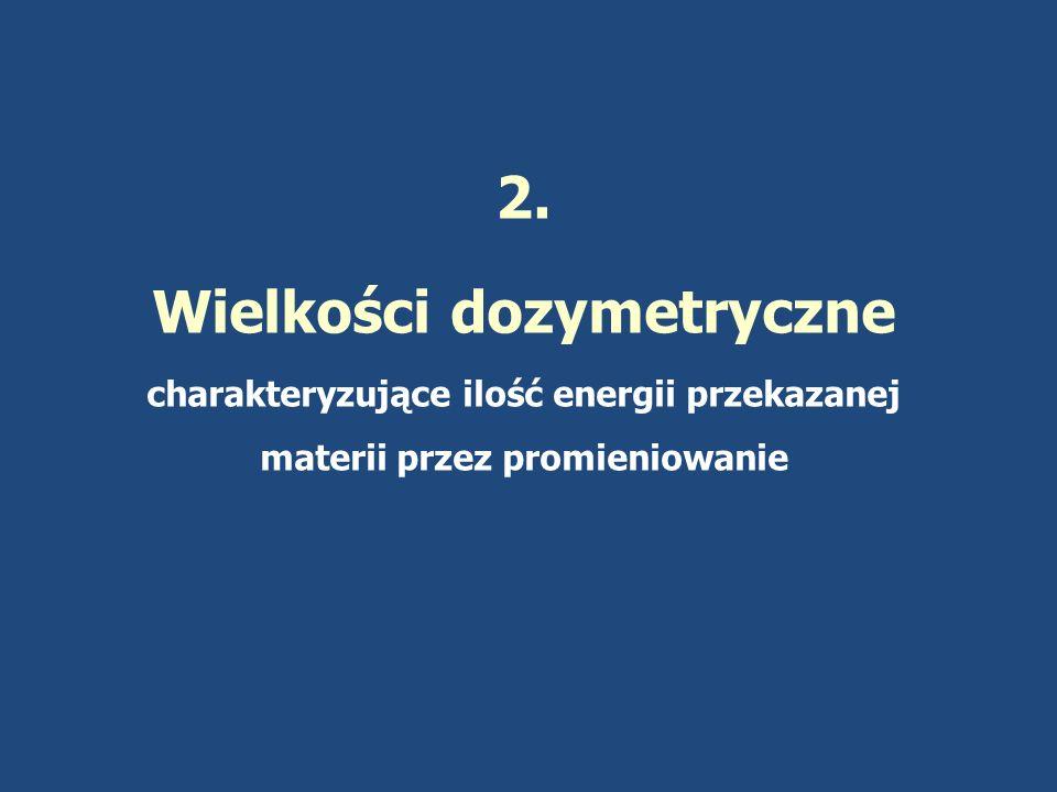 Nazwa pochodzi od : kinetic energy released in matter KERMA Suma energii kinetycznej wszystkich cząstek naładowanych uwolnionych przez promieniowanie w masie dm danej substancji.
