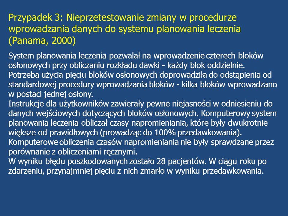 Przypadek 4: Ponowne użycie przestarzałego pliku komputerowego do leczenia 60 Co (USA, 1987-88) Po wymianie źródła uaktualniono pliki komputerowe systemu planowania z wyjątkiem pliku, którego nie miano dalej stosować (plik wykorzystywano do planowania napromieniania mózgu z użyciem dodatkowego trymera).