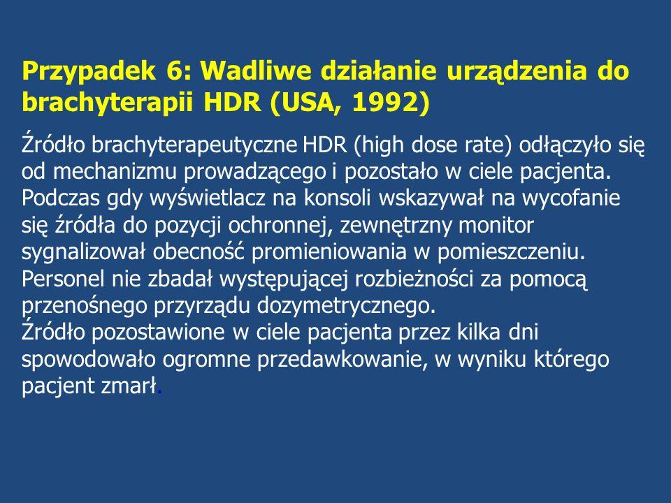 Przypadek 7: Błędna kalibracja źródła 60 Co (Kostaryka, 1996) Źródło promieniotwórcze aparatu teleterapeutycznego zostało wymienione.