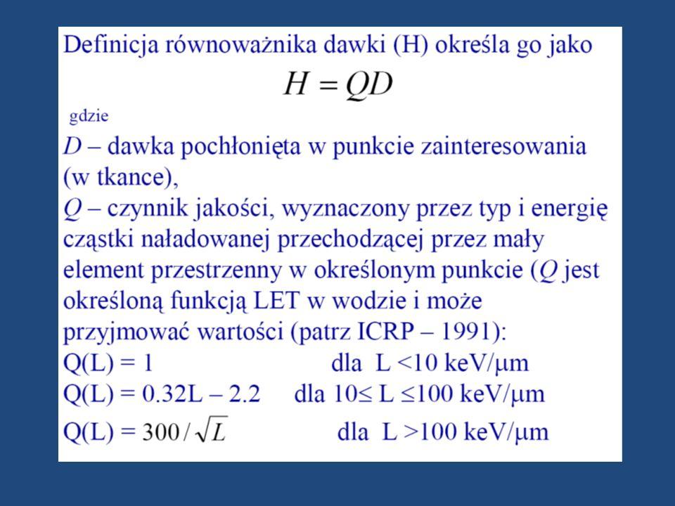 Współczynnik jakości promieniowania pełni podobną rolę, jak współczynniki wagowe promieniowania w R, ale jest zdefiniowany poprzez funkcję liniowego przekazania energii (LET), L w wodzie.