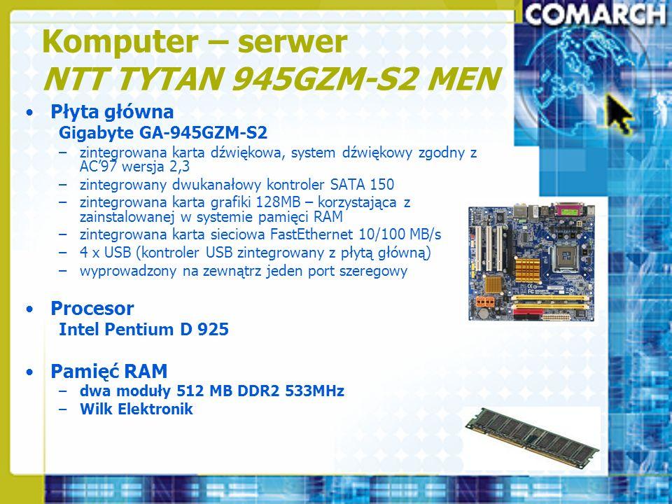 Komputer – serwer NTT TYTAN 945GZM-S2 MEN Płyta główna Gigabyte GA-945GZM-S2 –zintegrowana karta dźwiękowa, system dźwiękowy zgodny z AC97 wersja 2,3