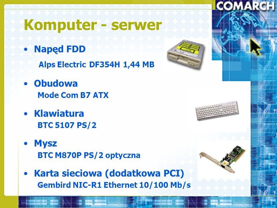 Komputer - serwer Napęd FDD Alps Electric DF354H 1,44 MB Obudowa Mode Com B7 ATX Klawiatura BTC 5107 PS/2 Mysz BTC M870P PS/2 optyczna Karta sieciowa