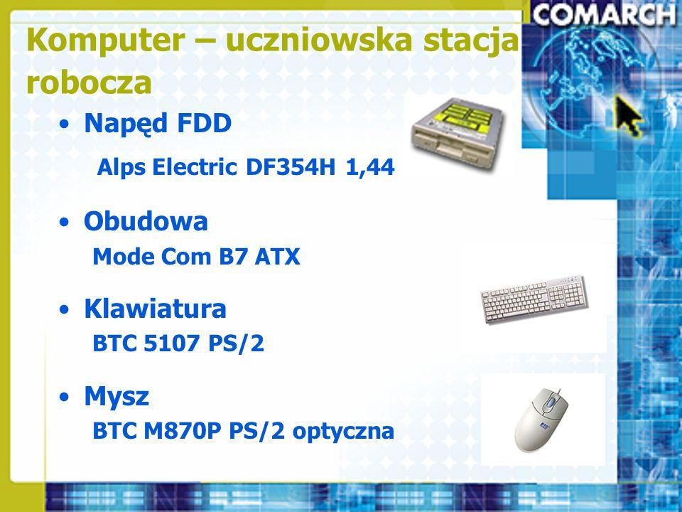 Napęd FDD Alps Electric DF354H 1,44 MB Obudowa Mode Com B7 ATX Klawiatura BTC 5107 PS/2 Mysz BTC M870P PS/2 optyczna Komputer – uczniowska stacja robo