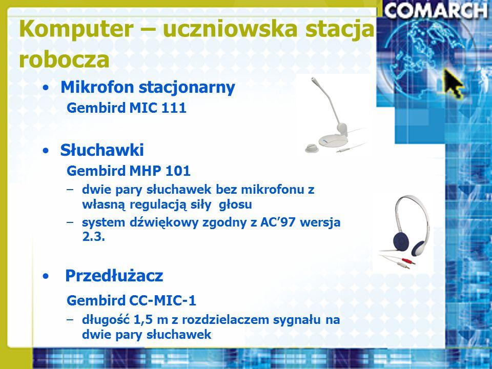 Mikrofon stacjonarny Gembird MIC 111 Słuchawki Gembird MHP 101 –dwie pary słuchawek bez mikrofonu z własną regulacją siły głosu –system dźwiękowy zgod