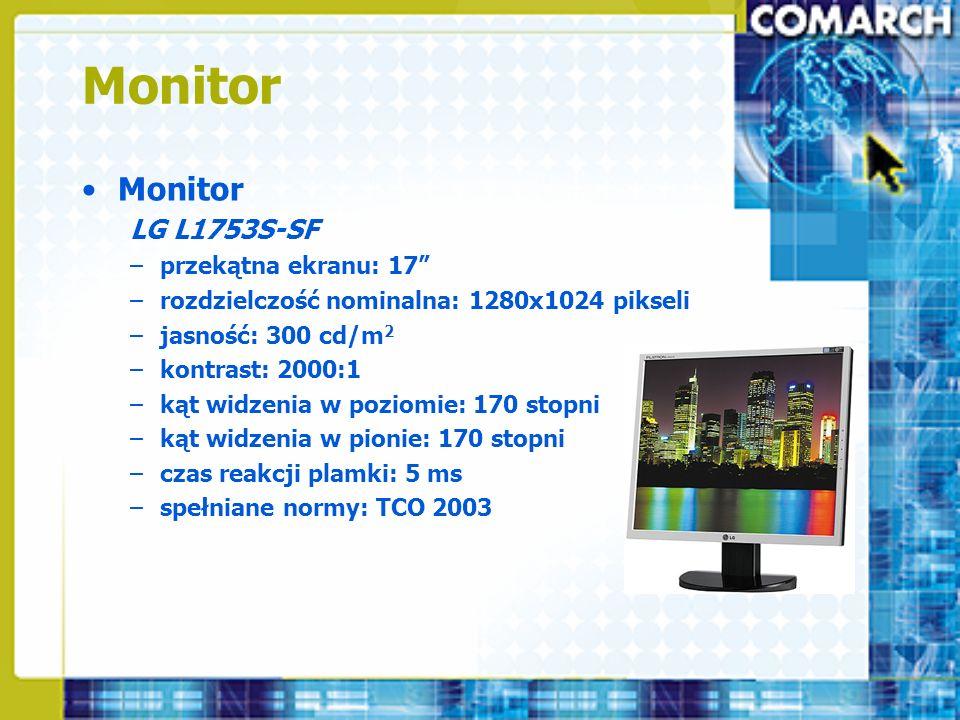 Monitor LG L1753S-SF –przekątna ekranu: 17 –rozdzielczość nominalna: 1280x1024 pikseli –jasność: 300 cd/m 2 –kontrast: 2000:1 –kąt widzenia w poziomie