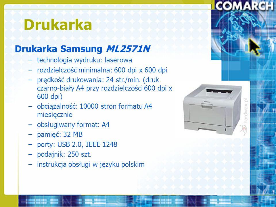 Drukarka Drukarka Samsung ML2571N –technologia wydruku: laserowa –rozdzielczość minimalna: 600 dpi x 600 dpi –prędkość drukowania: 24 str./min. (druk